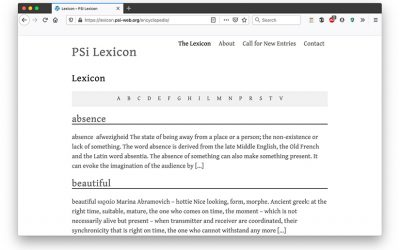 New PSi Lexicon Site Launch and Call for Entries